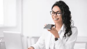 virtual assistant social media talking on phone